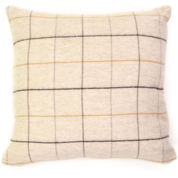 Tweedmill Merino Lambswool Soft Beige Check Cushion 50 x 50 cm