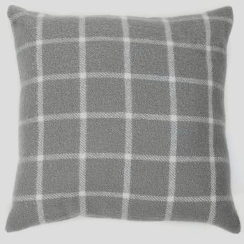 Tweedmill Pure New Wool Classic Grey Check Cushion 50 x 50 cm