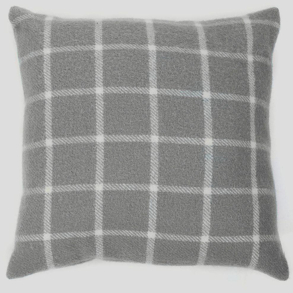 Tweedmill Pure New Wool Classic Grey Check Cushion 50 x 50 cm