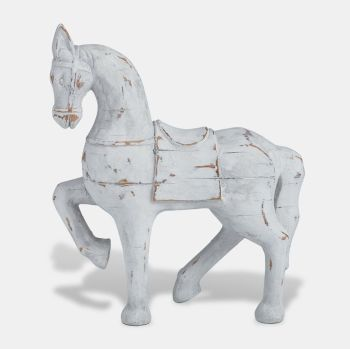 White Wooden Horse Ornament - Small