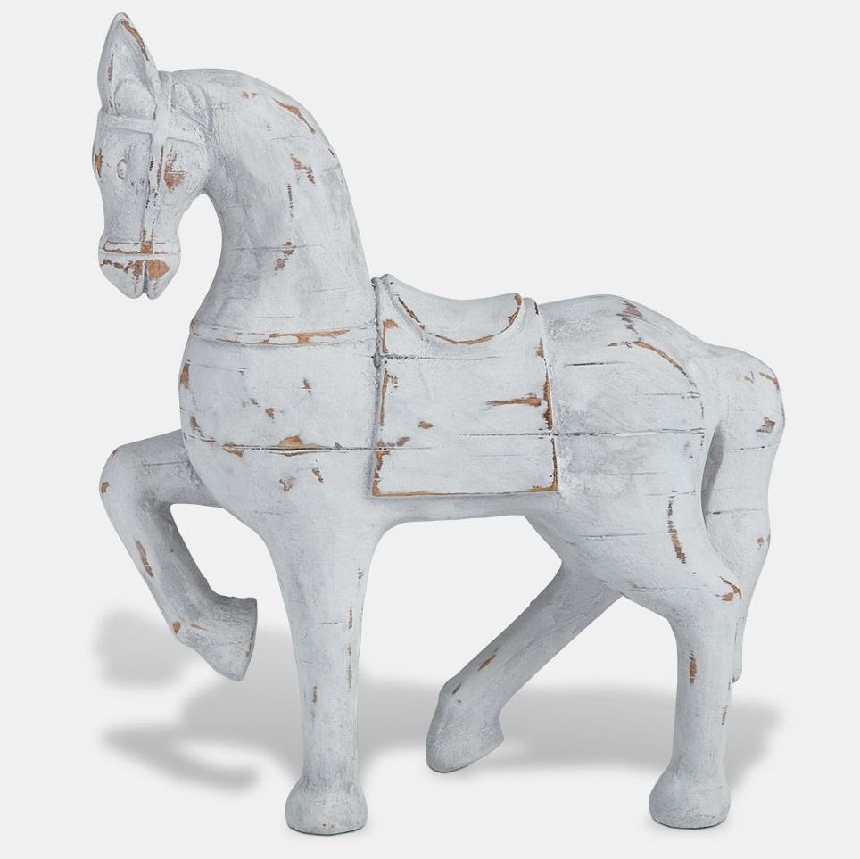 White Wooden Horse Ornament - Large