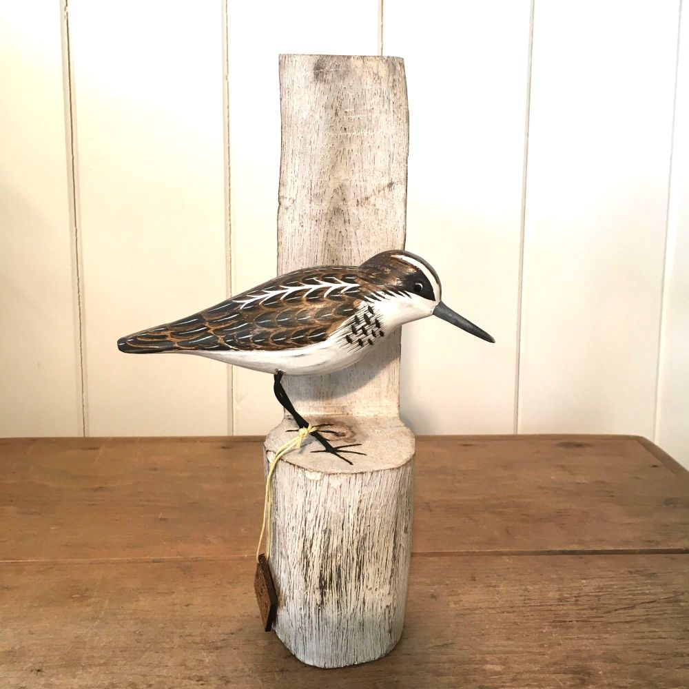 Archipelago Little Stint on Post, Bird Wood Carving
