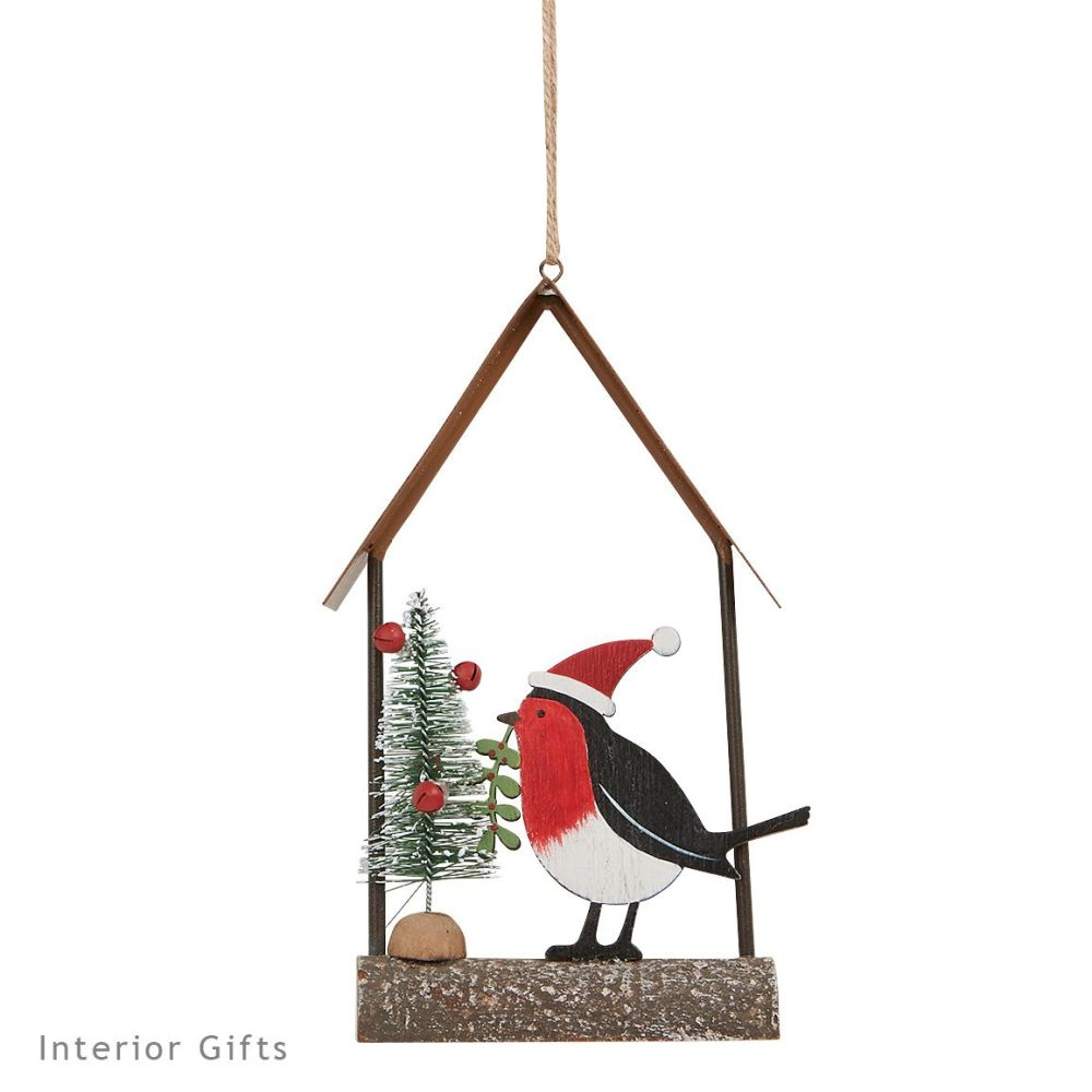 Rustic Wooden Robin Hanging Christmas Tree Decoration - Archipelago