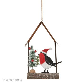 Rustic Wooden Robin Hanging Christmas Tree Decoration - Archipelago