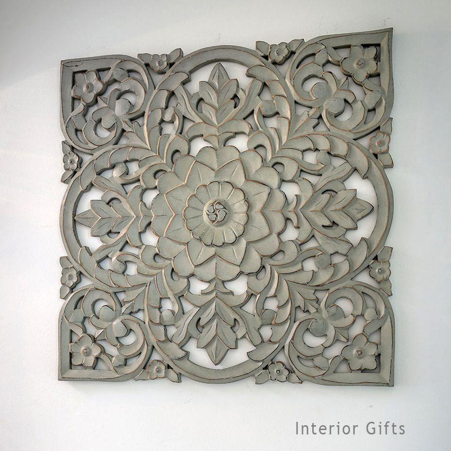 Hand Carved Decorative Grey Wooden Panel - Medium