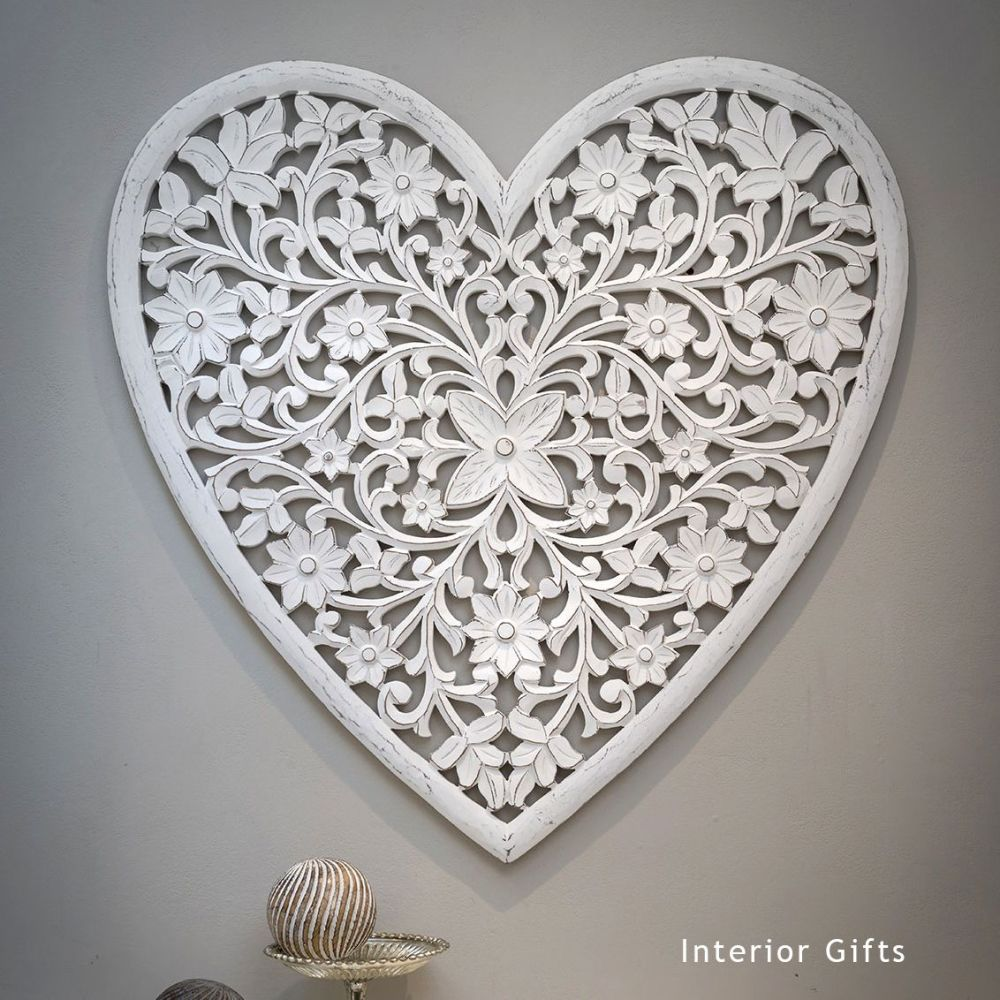 Hand Carved Decorative White Wooden Heart Panel