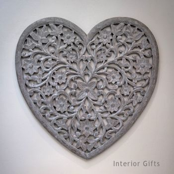 Hand Carved Decorative Grey Wooden Heart Panel