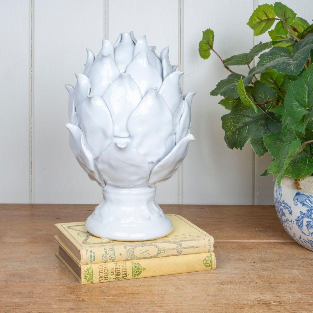 Ceramic Artichoke in Old White