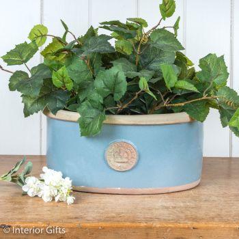 Kew Oval Planter in Scandinavia Blue - Royal Botanic Gardens Plant Pot - Medium
