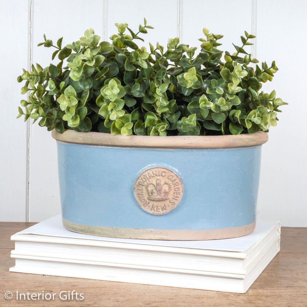 Kew Oval Planter in Scandinavia Blue - Royal Botanic Gardens Plant Pot - Sm