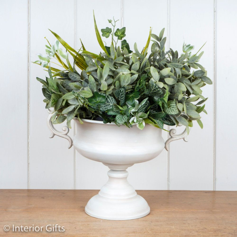 Vintage Urn with Handles in Old White