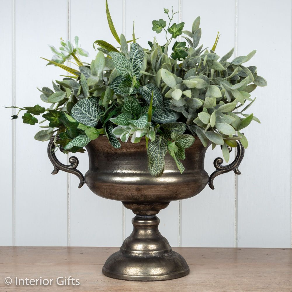 Vintage Urn with Handles in Antique Silver