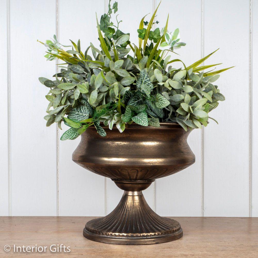 Vintage Pedestal Urn in Antique Gold