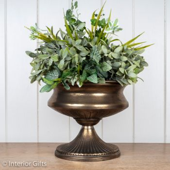 Vintage Pedestal Urn in Antique Gold