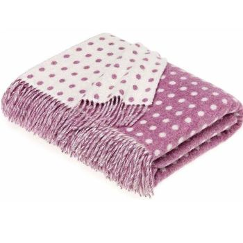 BRONTE by Moon Lilac & Cream Classic Spot Throw in Supersoft Merino Lambswool