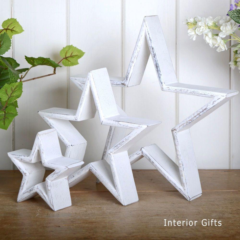 Three Decorative Rustic Wooden Standing Stars - White
