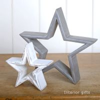 Two Decorative Rustic Wooden Standing Stars - Grey/White