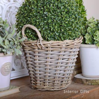 Wicker Basket Planter / Plant Pot  with handles - Medium