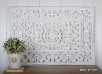 Hand Carved Decorative White Wooden Rectangular Panel