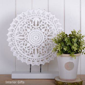 White Pedestal Carving - freestanding
