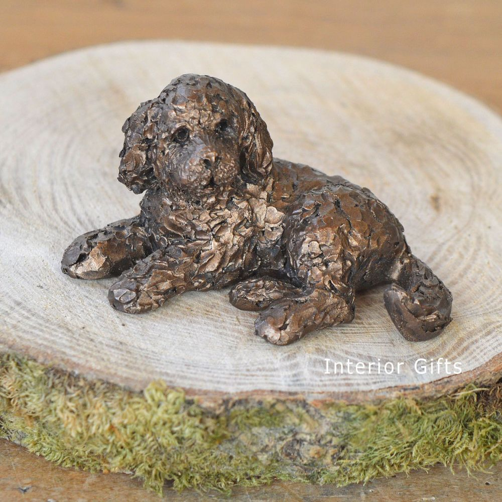 PICKWICK Cockapoo Lying Frith Bronze Sculpture  Miniature *NEW* by Adrian T