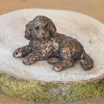 PICKWICK Cockapoo Lying Frith Bronze Sculpture  Miniature *NEW* by Adrian Tinsley