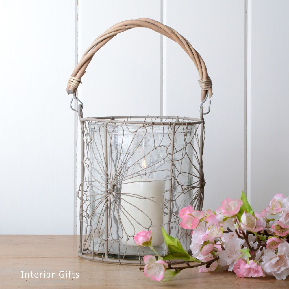 Glass Candle Holder with Natural Woven Handle - Large