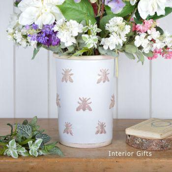 Rustic Bee Embossed Florist Flower Vase/Pot Handmade in Antique/Chalk