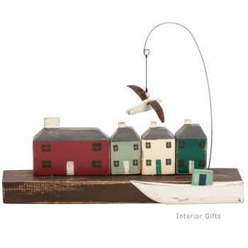 Archipelago Harbour Block Wood Carving- Painted Seaside Cottages