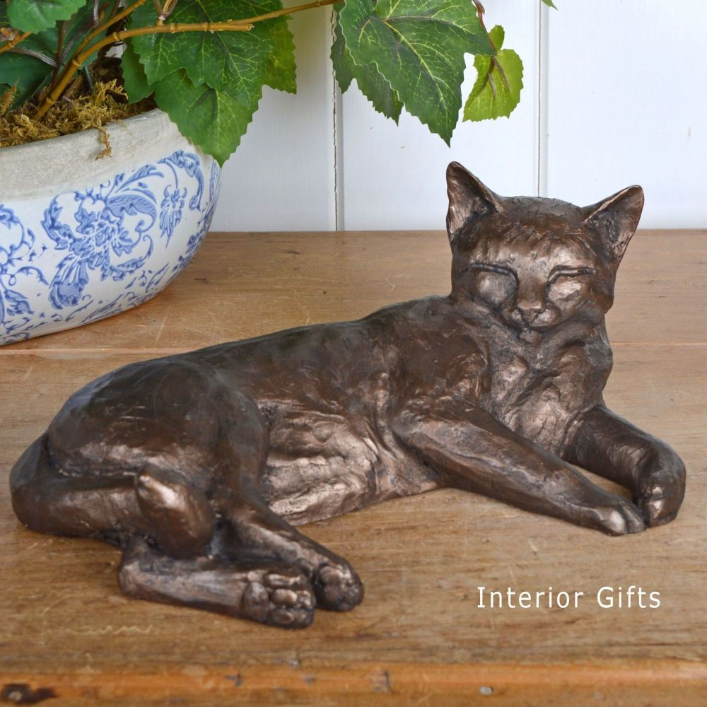 Polly Contented Cat Lying Large Frith Bronze Sculpture by Paul Jenkins