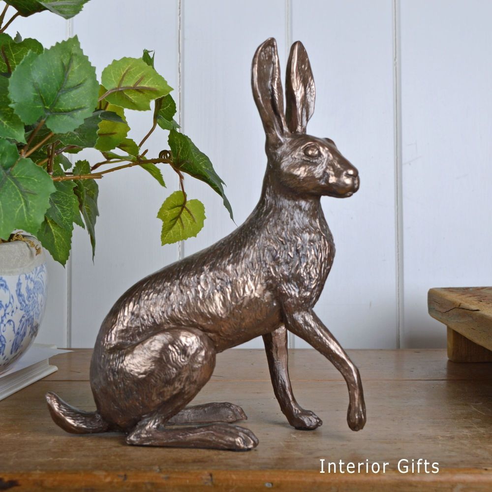 Holly Sitting Hare Paw Raised Cold Cast Bronze Sculpture by Harriet Glen