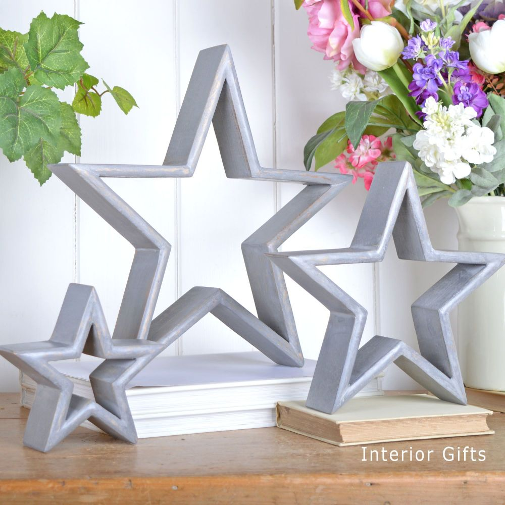 Three Decorative Rustic Wooden Standing Stars - Grey