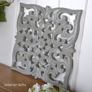 Hand Carved Decorative Grey Wooden Panel - Small