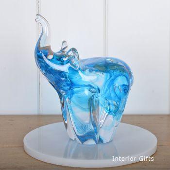 Glass Copper Blue Elephant Sculpture Large - Handmade