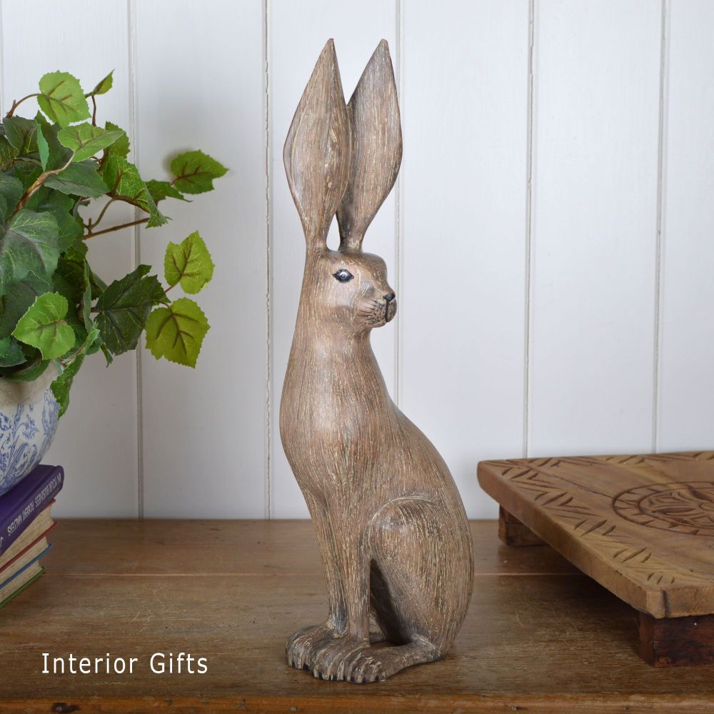 Archipelago Hare Listening Animal Wood Carving