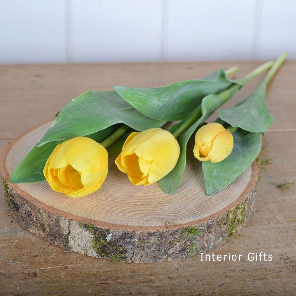 Faux Silk Tulips in Yellow - 3 Stems 36 cm