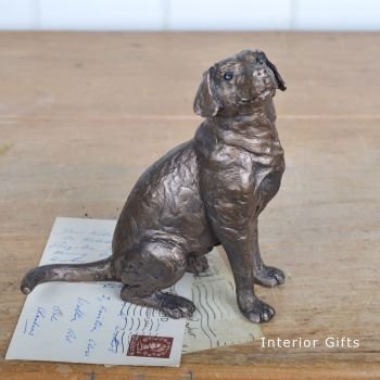 Harry Bronze Labrador Sitting  Up by Frith Sculpture