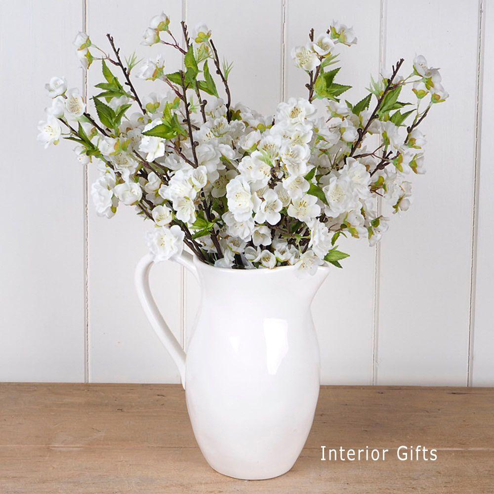 Faux Silk Cherry Blossom Spray in White - Three Stems 48 cm
