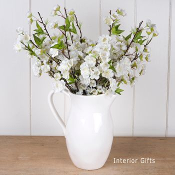 Faux Silk Cherry Blossom Spray in White - Three Stems 48 cm