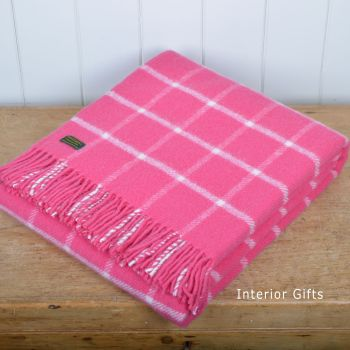Tweedmill Cerise Pink Classic Check Windowpane Pure New Wool Throw Blanket
