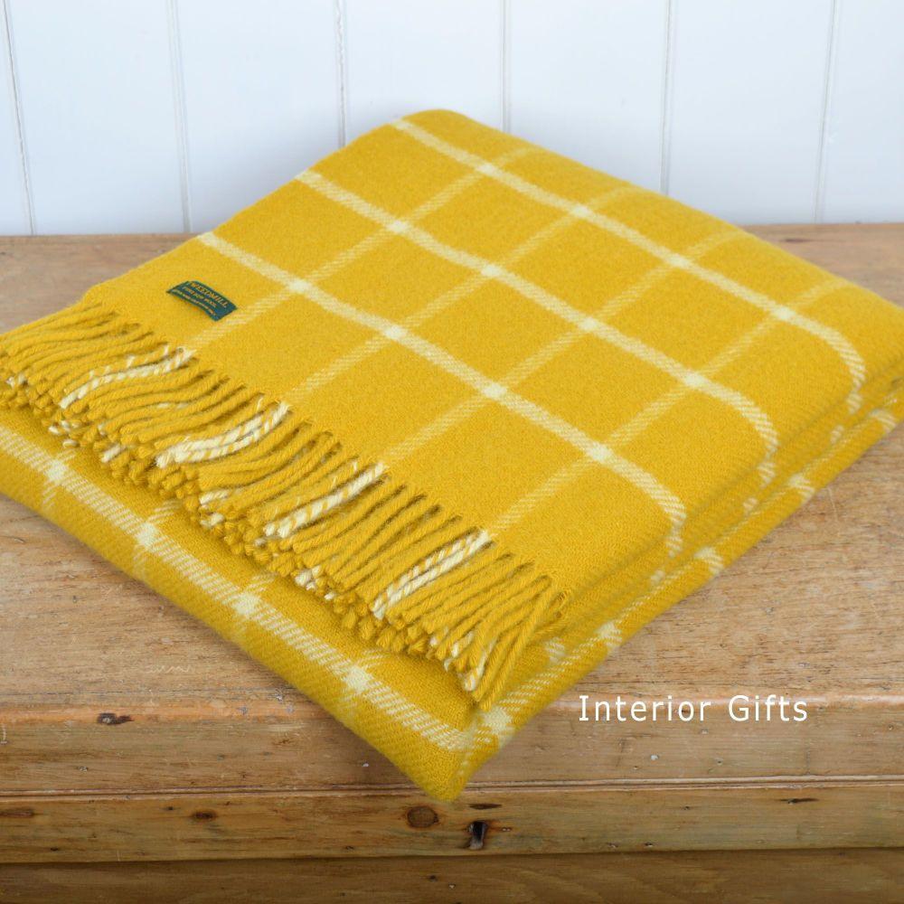 Tweedmill Yellow Classic Check Windowpane Pure New Wool Throw Blanket
