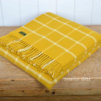 Tweedmill Classic Check Yellow  & Chalk Windowpane Pure New Wool Throw Blanket