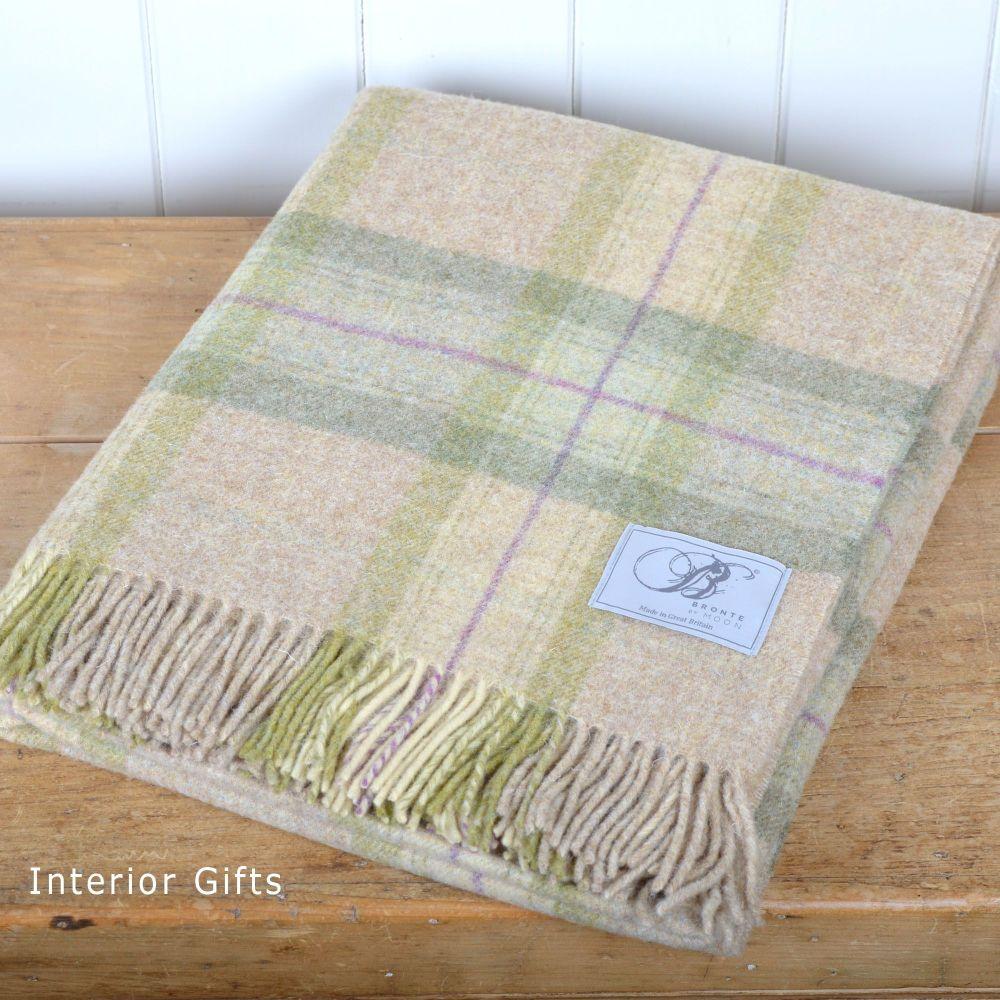 BRONTE by Moon Beige & Sage Skye Check Throw in 100% Shetland Pure New Wool