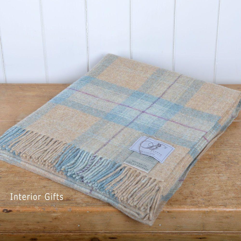 BRONTE by Moon Beige & Aqua Skye Check Throw in 100% Shetland Pure New Wool