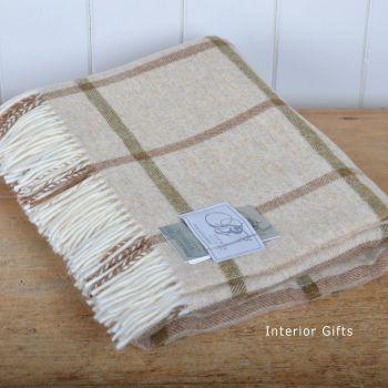 BRONTE by Moon Beige Windowpane Throw in 100% Shetland Pure New Wool