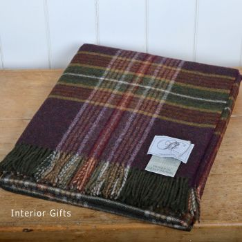 BRONTE by Moon Country House Ingleton Wine Throw in 100% Shetland Pure New Wool