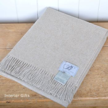 BRONTE by Moon Beige Plain Weave Throw in Supersoft Merino Lambswool