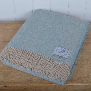 BRONTE by Moon Duck Egg Blue & Beige Herringbone Throw in 100% Pure New Wool