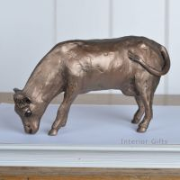 Dairy Cow Grazing Poppy Frith Bronze Sculpture by Paul Jenkins