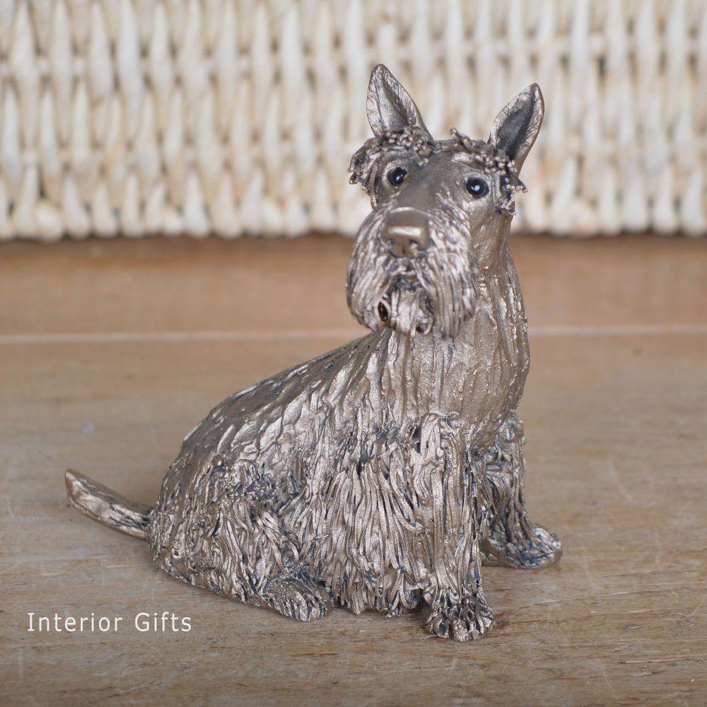 FRASER SCOTTY DOG Sitting Frith Bronze Sculpture by Veronica Ballan